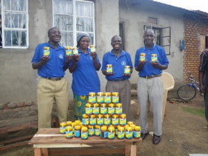 LIDEFO community mobilizers with some of the honey they produce and market in Uganda. LIDEFO is a group I work with a lot. I went there to help them with their beekeeping program in 2011. Very worthy group to support.